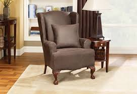 sure fit slipcovers wing chair sure fit stretch leather wing chair slipcover