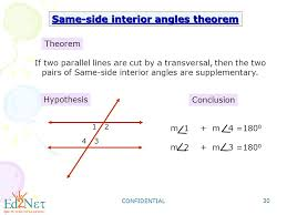 Same Side Interior Angles Definition Geometry Geometry Angles Formed By Parallel Lines And Transversals Ppt