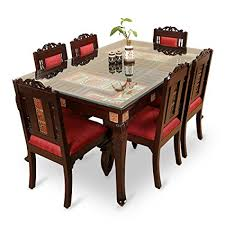 6 seater dining table and chairs exclusivelane teak wood 6 seater dining table chair with warli