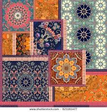 patchwork pattern stylized flowers indian arabic stock
