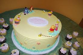 winnie the pooh baby shower cake winnie the pooh baby shower cake with mini cupcakes picture of