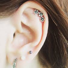 earring on ear 1 pcs chic three flowers cartilage earring ear stud climber helix