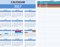 Calendar Template For Excel Excel Calendar Template 2017 Cyberuse