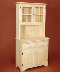 Hutch China Amish Unfinished Solid Pine Corner Hutch China Cabinet Country