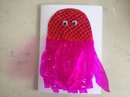 orange net to make jellyfish card onion net on jellyfish card