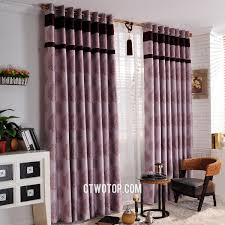 Blackout Purple Curtains Patterned Ready Made Blackout Window Curtains