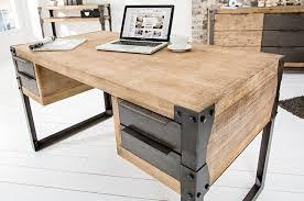 bureau d angle en bois massif bureau design en bois massif blanc acacia 4 tiroirs industriel