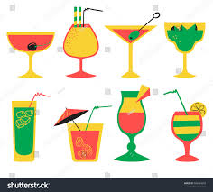 tropical cocktail silhouette vector set alcohol cocktails flat cartoon stock vector 586485818