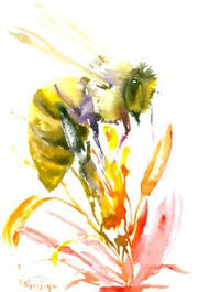 honey bee watercolor painting art print nature by miraguerquin