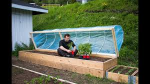garden greenhouse ideas easy diy hinged hoophouse for raised bed youtube