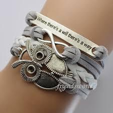 leather bracelet silver charms images Diy owl charm jewelry fashion leather cute bracelets silver pick jpg