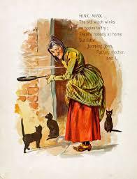 vintage witch illustration vintage ephemera nursery rhyme witch and black cat c 1899 a