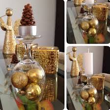 diy christmas decorations gold ornaments under wine glass