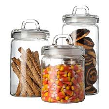 clear glass canisters for kitchen set of 3 clear glass canister jars with tight lids and handle for