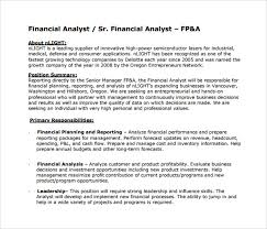Sample Of Financial Analyst Resume by Sample Financial Analyst Resume 11 Documents In Pdf Word