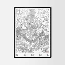 seoul gift map art prints and posters home decor gifts