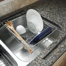 dish drainer for small side of sink amazon com polder 6216 75rm in sink over sink stainless steel dish