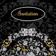 Black Invitation Card Floral Decorated Invitation Card With Antique Luxury Silver And