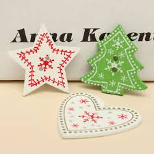 25pcs lot christmas tree wooden buttons stars heart buttons diy