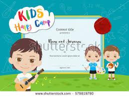 colorful kids certificate template portrait children stock vector