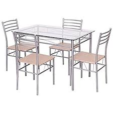 Glass Table And Chairs For Kitchen by Amazon Com Vecelo Dining Table With 4 Chairs Silver Kitchen