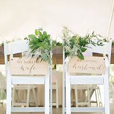 bride and groom sweetheart table amazon com wedding chair signs for bride groom at sweetheart