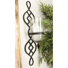 Iron Candle Wall Sconce 36 In X 9 In Traditional Black Iron And Glass Candle Wall Sconce