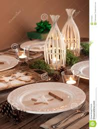 christmas table setting rustic style natural decorations stock