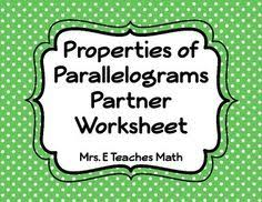 properties of parallelograms worksheet parallelograms partner activity activities geometry and math