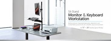 Monitor And Keyboard Wall Mount Sit Stand Monitor And Keyboard Workstation Monoprice Com