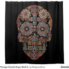 Colored Shower Curtain Vintage Colorful Sugar Skull Shower Curtain 74 Liked On