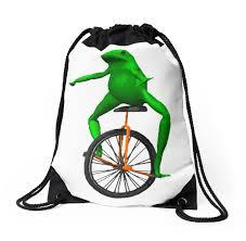 Unicycle Meme - dat boi meme unicycle frog drawstring bags by joedaeskimo
