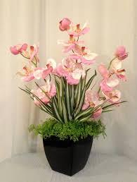 vanda orchid and greenery arrangement in black ceramic container