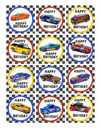 hot wheels cake toppers hot wheels cupcake toppers 4 choices and a hot wheels bunting