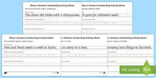 phase 4 sentence handwriting activity sheets phase 4 sentence
