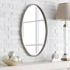 Bathroom Mirrors Brushed Nickel Gorgeous Oval Bathroom Mirrors Brushed Nickel Toward Table