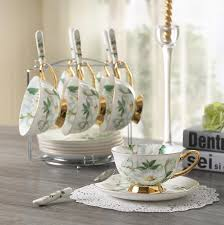 tea cup set 180 ml noble ceramic set of 6 tea cup set with spoon bone china
