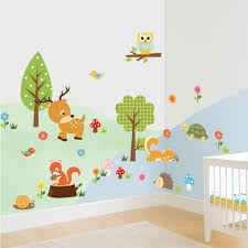 compare prices on wall decals online shopping buy low price wall cute animal wall stickers squirrel tortoise deer for kids rooms diy decorative children home kids decor