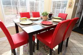 Red Dining Room Chair Amazon Com 7 Pc Red Leather 6 Person Table And Chairs Red Dining