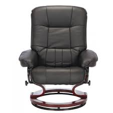 Recliner Office Chair Santos Leather Recliner Chair And Footstool Black Furnico Village
