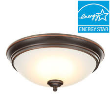 flush mount ceiling light fixtures oil rubbed bronze commercial electric 11 in 60 watt equivalent oil rubbed bronze