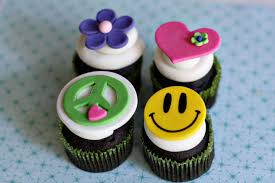 peace sign flower heart and smiley hippie fondant toppers
