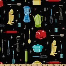 kitchen utensils black discount designer fabric fabric com