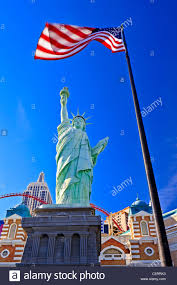 New York Flag Liberty Statue New York New York Casino With American Flag Las