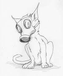 cat in a gas mask desksketch