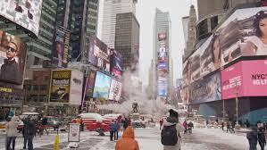 new york march 5 2015 smoke in cold times square in winter