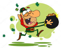 greedy leprechaun run with a pot of gold u2014 stock photo hittoon