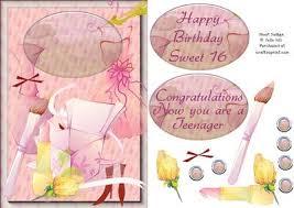 makeup and perfume birthday card for a teenage