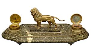 antique bronze lion magnificent antique bronze lion inkwell with marble base for sale