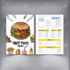 sketch style hand drawn fast food cafe or restaurant menu template